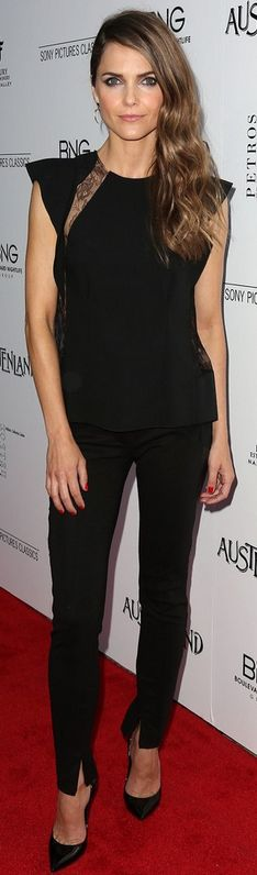 Who made Keri Russell's black pants and lace top that she wore in Hollywood on August 8, 2013?