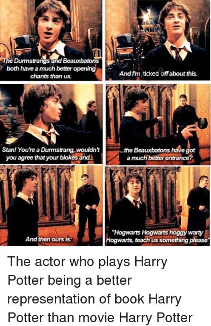Harry Potter 15 Hilarious Book Vs Movie Memes Only True Fans Will Get Harry Potter Cast Harry Potter Memes Hilarious Harry Potter Funny