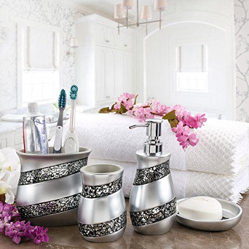 Creative Scents Bathroom Accessories Set, 4 Piece Mosaic Glass Luxury  Bathroom Gift Set,