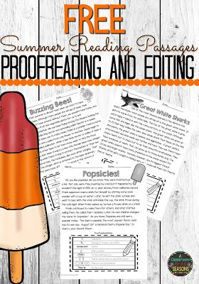 Proofreading and Editing Fun!   Practice proofreading and editing with these fun non-fiction reading passages. There are 4 passages included plus answer keys and comprehension questions! They are great for the end of the year or any time of the year!  3rd grade 4th grade 5th grade a classroom for all seasons proofreading reading comprehension summer
