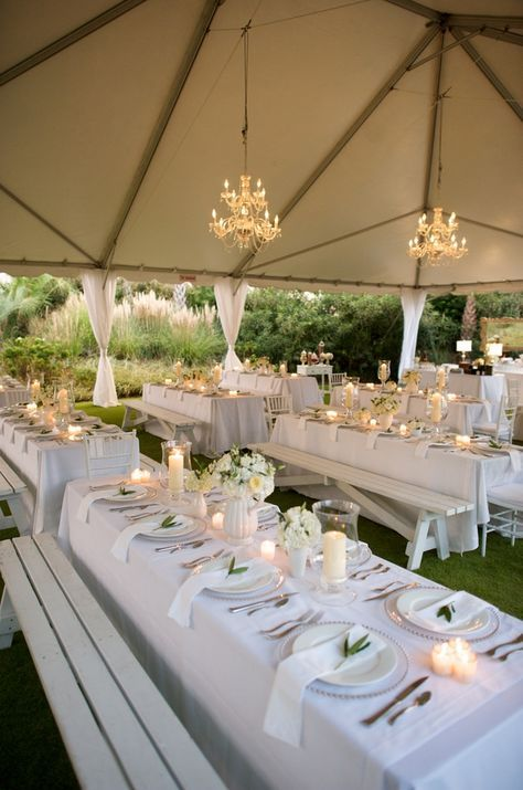 White green tent wedding reception tents reception and for Pictures of wedding venues decorated