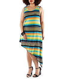 Plus-Size Striped Maxi,TEAL Rainbow clothing store