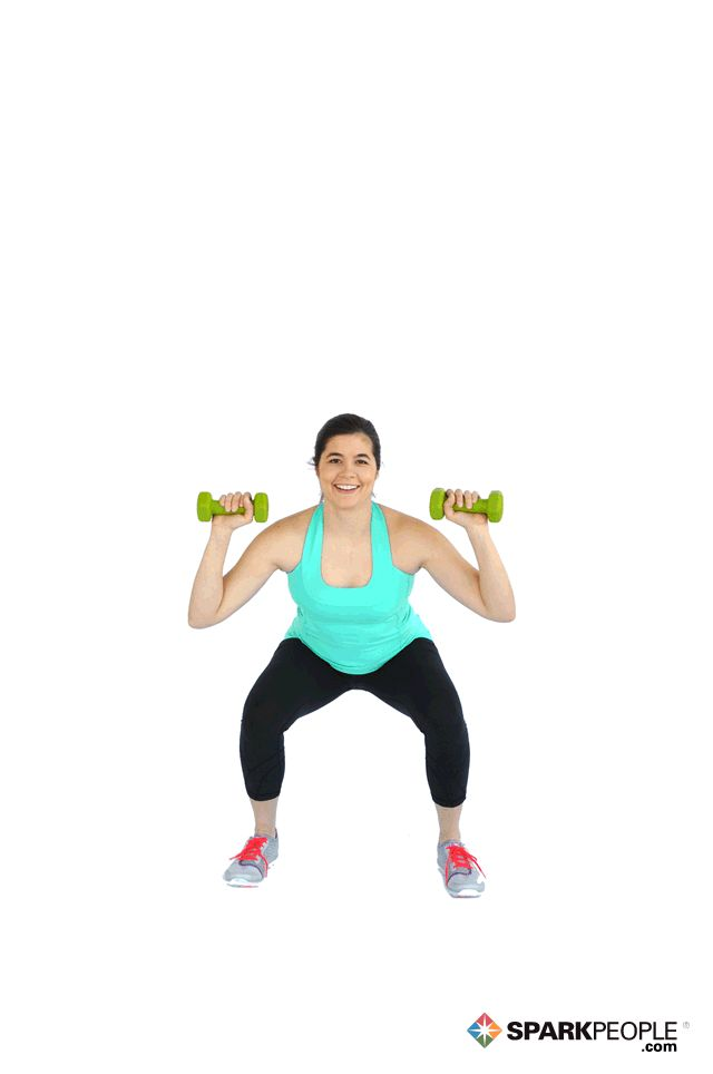 Dumbbell Squat with Overhead Press Exercise Demonstration via @SparkPeople- works entire body