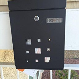 peelco modern rust proof powder coated galvanized steel black vertical lockable mailbox stainless steel and - Lockable Mailbox