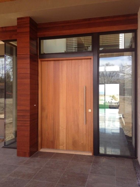 8 best images about modern wood front doors on pinterest for Modern exterior house entrance