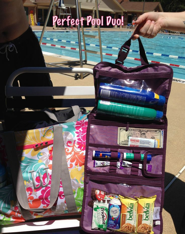 I call this the Perfect Pool Duo! The Deluxe Organizing Utility Tote was used to carry towels, cameras, and a thermal tote for 4 adults and 2 children. I partnered this with the Timeless Beauty bag to hold our beach/pool items (sunscreen, snacks, money, pool passes, and first aid!) Woohoo!