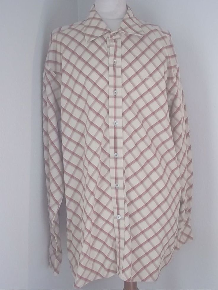 Sean Jean Mens Beige Red Button Front Casual Shirt Size: 2XL #Casual #ButtonFront