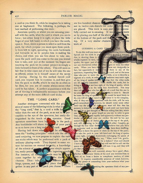Butterflies Art Print Magical Faucet Vintage Dictionary Book Print