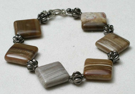 Petrified Wood and Gun Metal Beads Bracelet by BeccsCreations, $25.00