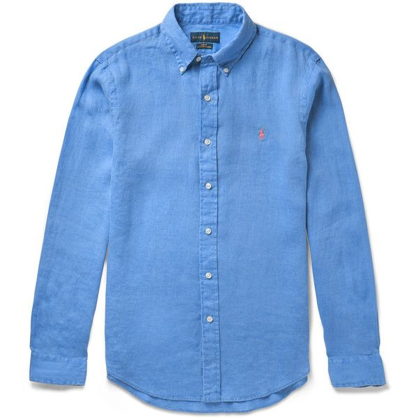 Polo Ralph Lauren Slim-Fit Button-Down Collar Linen Shirt ($100) ❤ liked on Polyvore featuring men's fashion, men's clothing, men's shirts, mens blue shirt, mens long sleeve linen shirts, mens blue linen shirt, mens linen shirts and mens slim fit shirts