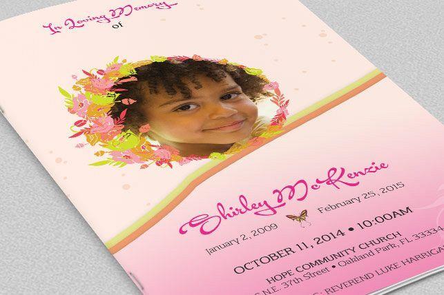 Pink Floral Funeral Program Template from DesignBundles.net