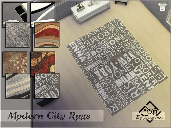 Modern City Rugs Set by Devirose at TSR via Sims 4 Updates