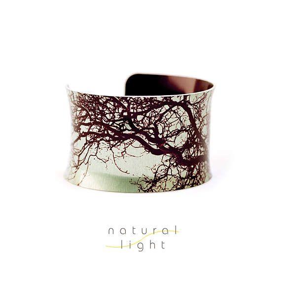 Tree Bracelet - Midsummer Common Tree Mint Green - Aluminium Cuff Bracelet - Nature Gifts - Boho Chic Jewelry - Abstract - Wide Bangle