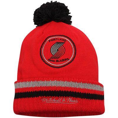 Portland Trail Blazers Mitchell & Ness Current Logo Big Man High 5 Cuffed Knit Hat - Red