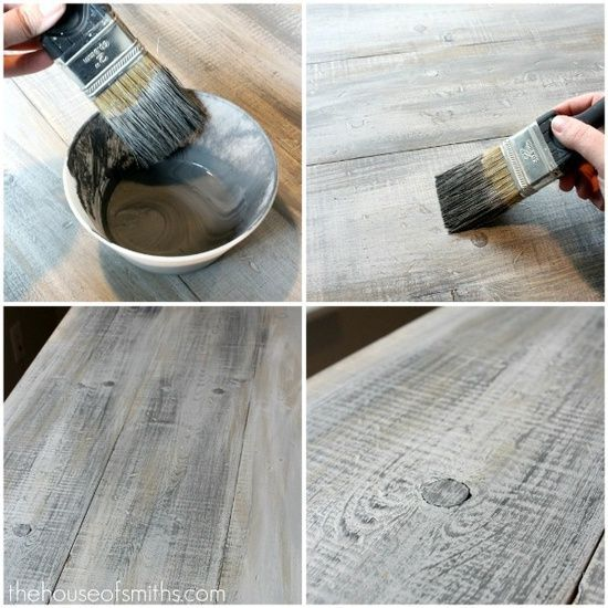 How to make new wood look like old barn board. Holy cow this is so amazing and looks so easy!@Alyssa Chmiel