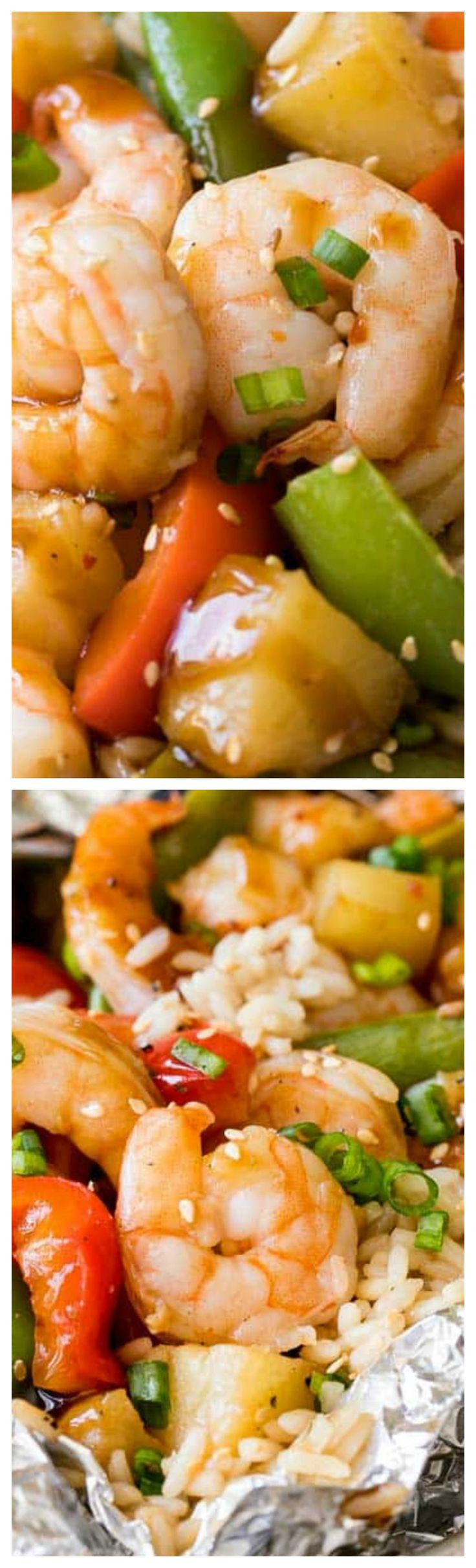 Pineapple Teriyaki Shrimp Foil Packets ~ Quick and easy with little clean up... Tender crisp vegetables, succulent shrimp & juicy pineapple grilled in a sweet teriyaki sauce.