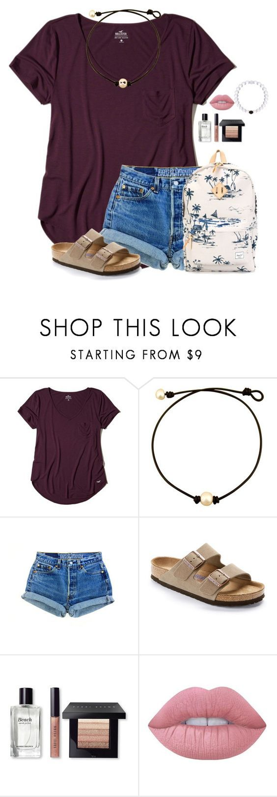 """""""Monday at school"""" by victoriaann34 on Polyvore featuring Hollister Co., Birkenstock, Bobbi Brown Cosmetics, Lime Crime and Herschel Supply Co."""