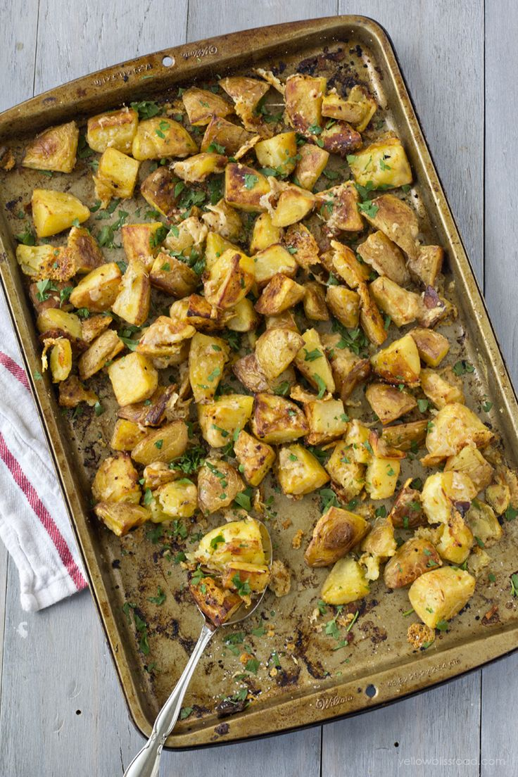 Gold Yukon potatoes are roasted to tender perfection and coated with garlic, Parmesan cheese and other seasonings. These roasted potatoes are the perfect side dish for fall, or even Thanksgiving dinner. My kids aren't fans of potatoes, so it's not often that I make them. I, on the other hand LOVE potatoes in any form, …