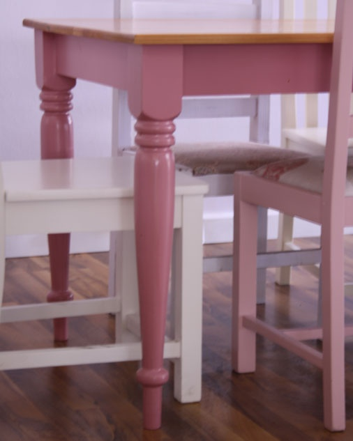 Table with Turned Legs  We offer two types of tables, the square leg or the turned leg. These are available in a range of base colours, all with a cypress top.