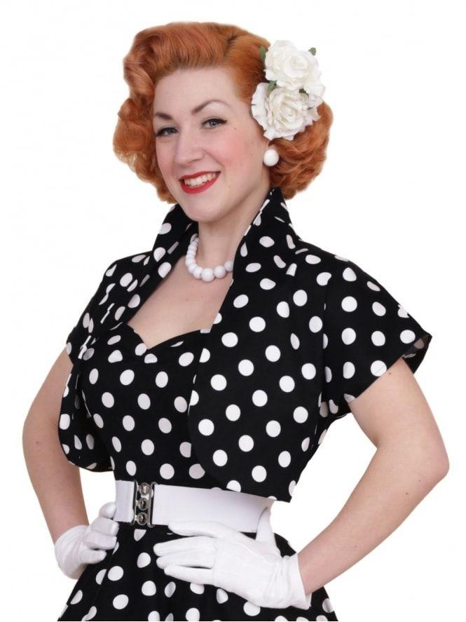 b23825aca52 50s-1950s-40s-1940s-Vivien-of-Holloway-Best-Vintage-Style -Reproduction-Repro-Bolero-Jacket-Black-White-Polka-Polkadot-Spot-Rockabilly -Swing-Pinup