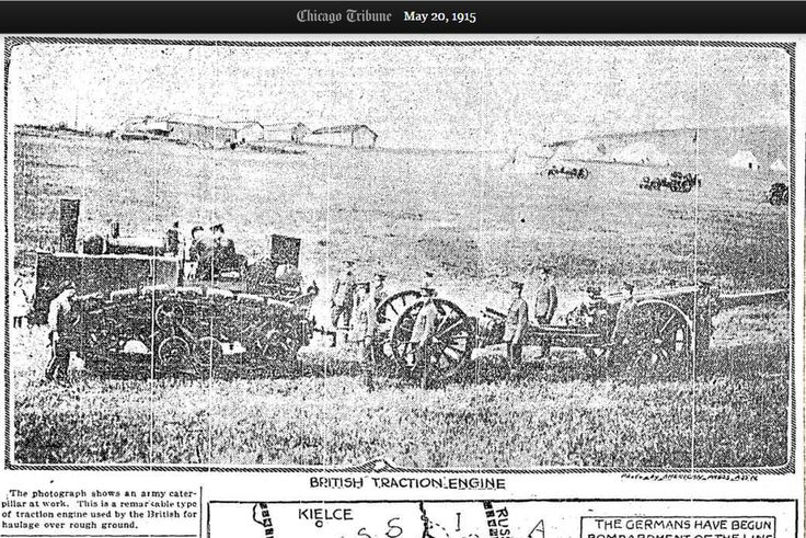 May 20 1915 British land train hauls large artillery piece across rough country http://archives.chicagotribune.com/1915/05/20/page/3/article/great-engine-that-hauls-british-cannon-map-showing-how-russians-have-lost-ground … #OnThisDay