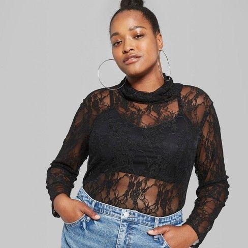 Women S Plus Size Long Sleeve Sheer Lace Turtleneck Wild Fable