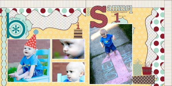 My Digital Studio (MDS) Breaking The Traditional Scrapbooking Rules with DigiScrapbooking (Sam's 1st Birthday) {Project by: Me (Jamie Schill)}