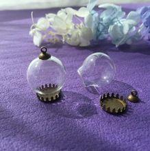 100 set/lote 20*12mm globo de cristal claro vacío tapa de la base de bronce antigua corona cristal orbes para Collar vial colgante redondo(China (Mainland))