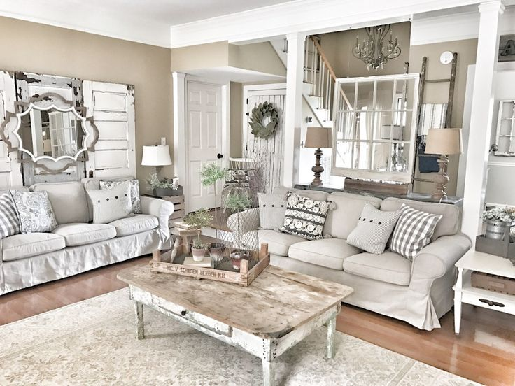 Farmhouse Living Room Using Neutral Colors Ikea Couches And Ideas For Old Doors Windows