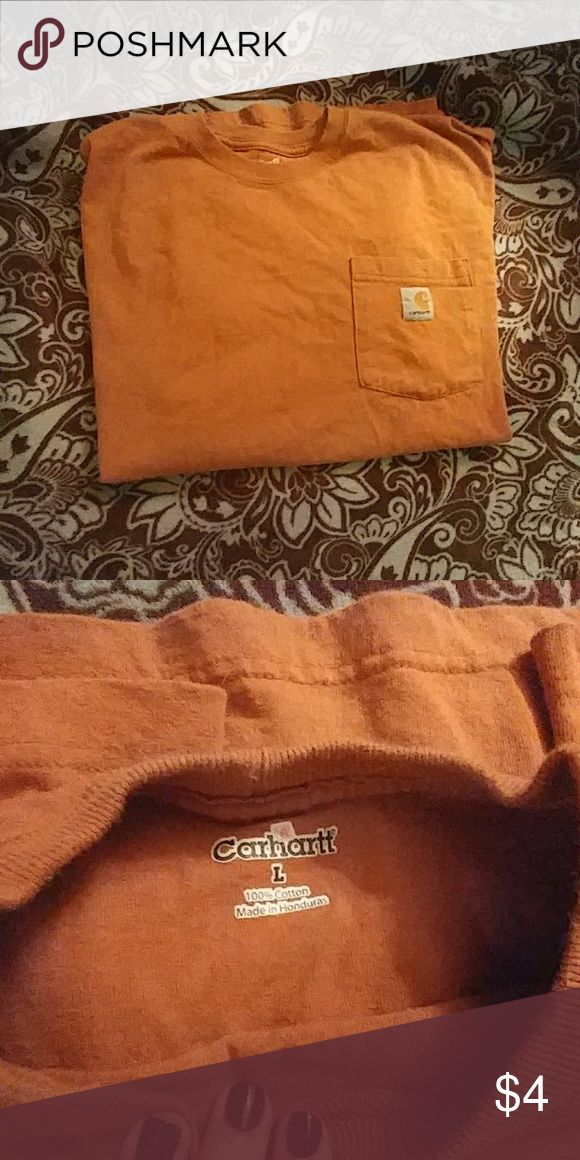 Carhartt work tshirt Rust orange Carhartt work shirt. Short sleeve t shirt with pocket. Worn but good condition. Shirts Tees - Short Sleeve