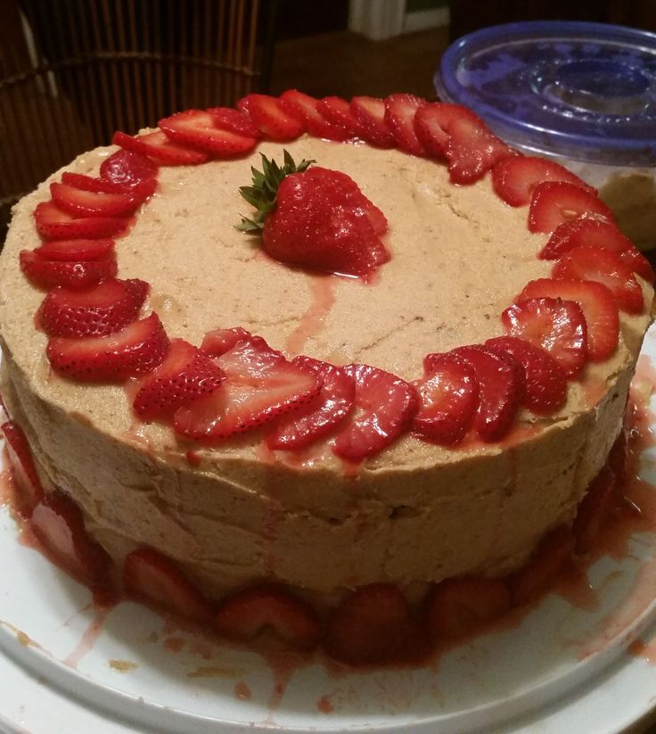 Chocolate cake with peanut butter buttercream and strawberries. by Heather arbiter