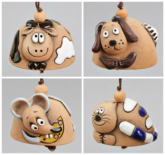 Small Ceramic Bells: Dog Mouse Cat Cow School by Molinukas on Etsy