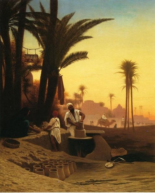 Charles Theodore Frere (1814-1886) - The Egyptian Potter. Oil on Canvas. Circa 1870-1886.
