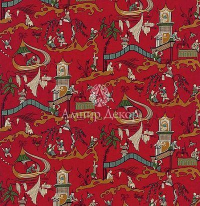 идеи для штор: красная ткань в китайско- японском стиле с рисунком из пагод для восточных портьер DVIPPA-203 Sanderson