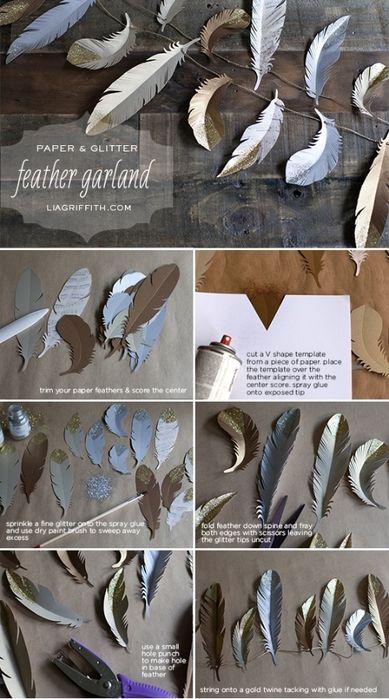 Перья из бумаги для праздничной гирлянды и украшения елочки. ШАБЛОНЫ ПЕРЬЕВ (5) (389x700, 240Kb)