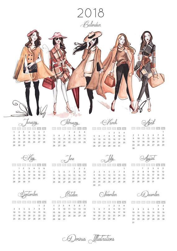 Year At Glance Calendar For Fashionistas Printed On Pure White