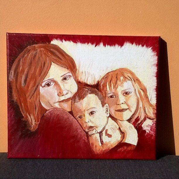 "I finished! Emotikon smile Portrait - ""Three girls"" (canvas, doesn't need frame, 30x25cm) ‪#‎portrait‬ ‪#‎paintings‬ ‪#‎acrylics‬ ‪#‎art‬ ‪#‎artist‬ ‪#‎canvas‬ ‪#‎people‬ ‪#‎kids‬ ‪#‎children‬ ‪#‎sylchra‬ ‪#‎original‬"