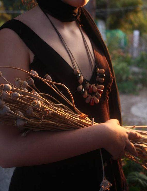 Collana con perle a goccia in ceramica di NidaCeramiche su Etsy