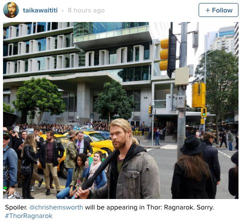 Oh Chris Hemsworth will be in Thor Ragnorak?!  I mean it's not like he's Thor or anything