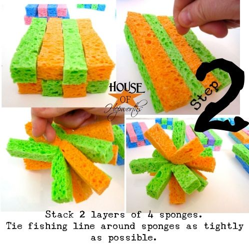 Summertime/Backyard party. For the kids (and adults) to cool off.  Cut a regular kitchen sponges length wise.  Stack and tie with fishing line then soak, squish and drench!  Luau water fight?