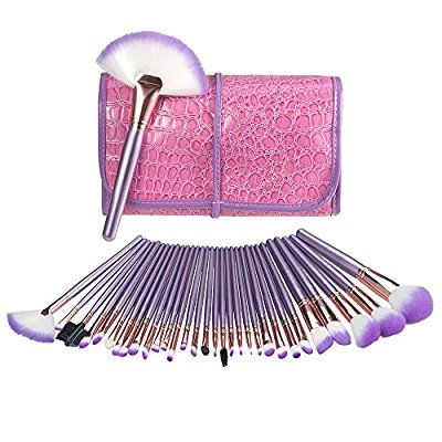 Make Up Brushes, USpicy Makeup Brushes Cosmetics Professional Essential 32-Piece Make Up Brush Set Kits with Travel Pouch-Purple: Amazon.co.uk: Beauty