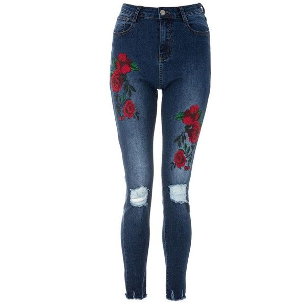 Blue Rose Embroidered Ripped Skinny Jeans ($46) ❤ liked on Polyvore featuring jeans, pants, torn jeans, destroyed jeans, destructed jeans, distressing jeans and ripped jeans