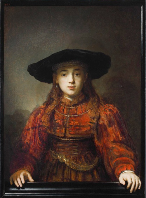"""The Girl in a Picture Frame"" in 1641 by Rembrand van Rijn (Leiden 1606 - Amsterdam 1669). Oil on canvas (106x76cm). Royal Castle, Warsaw, Poland."