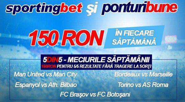 5 din 5 la Sportingbet. 5 pronosticuri corecte - 150 RON Garantat! - Ponturi Bune