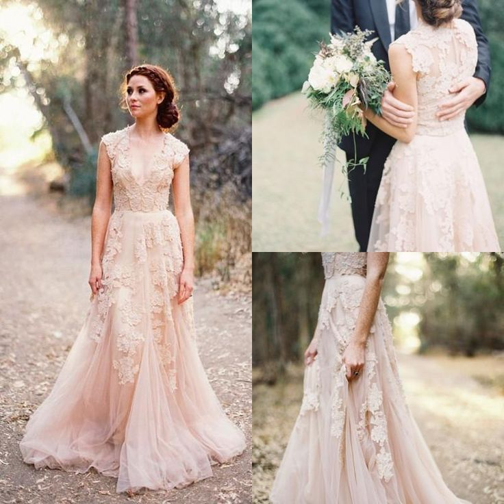 Nice  Fashion Sheer V Neck Lace Appliques Blush Tulle A line court train Reem Acra Puffy Bridal dress Gowns Vintage Garden Wedding Dresses