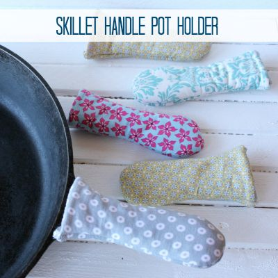 Love your cast iron skillet? Protect your hands with this easy DIY Skillet Handle Pot Holder -- hard to find in stores, but easy to make from fabric scraps. See how at Practical Stewardship.