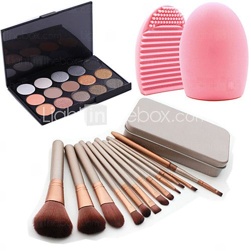 12st cosmetische make-up tool blush foundation brush set box + 15colors shimmer oogschaduw palet +1 stuks borstel schoonmaken tool - EUR €9.79