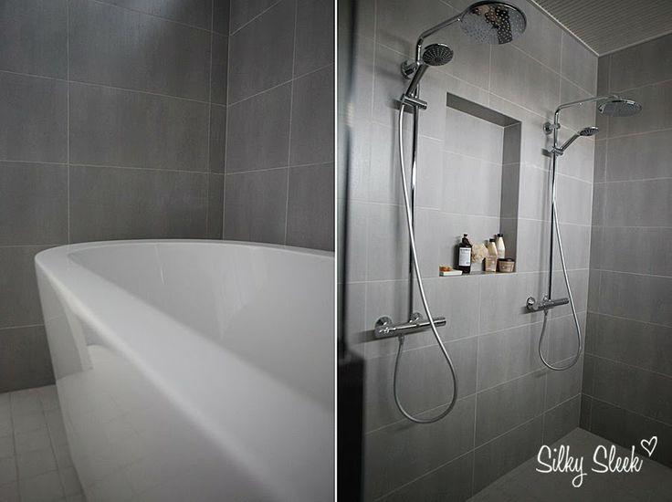 Grey & White for bathroom http://silkysleek.blogspot.fi/
