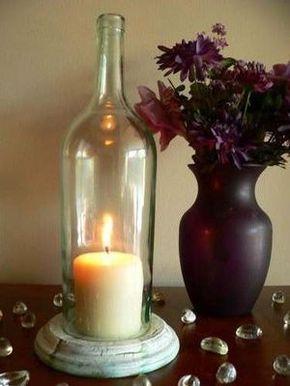 Botella de vino claro vela sostenedor de la lámpara de huracán centro de mesa on Etsy, US$19,99