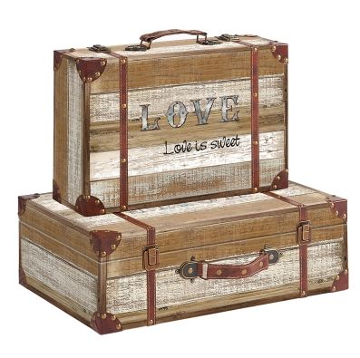 Decorative Wood Storage Suitcases Set Wholesale Now, Accent Appearance Give  A Sight Of Elegance And